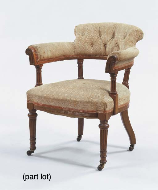 (2) A German walnut desk chair