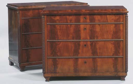 (2) A pair of German mahogany commodes