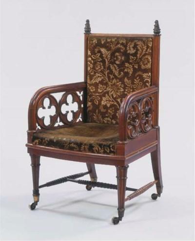 A German walnut open armchair
