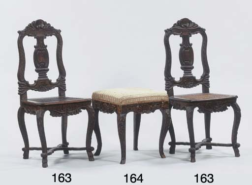 (2) A pair of stained wood sid