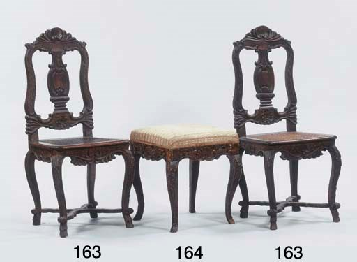 A German stained wood tabouret