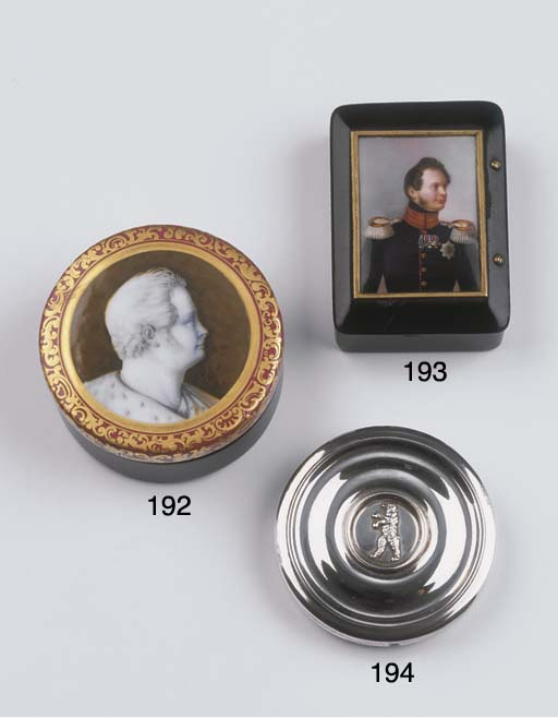 A snuff-box with a porcelain p