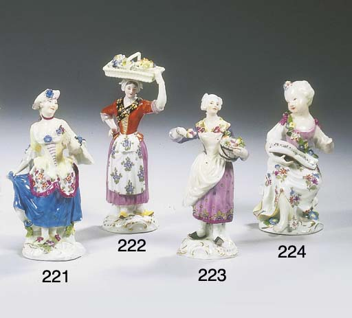 A Meissen porcelain figure of a young songstress