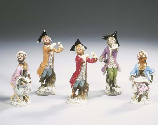 (5)  A series of five Meissen porcelain figures from the Monkey Orchestra