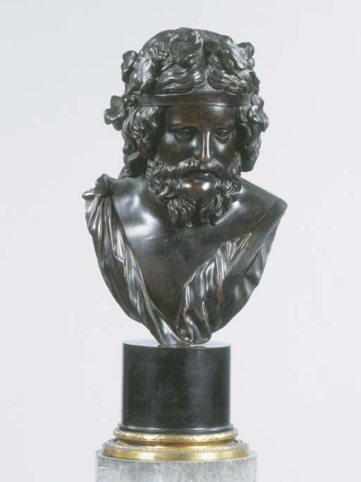 A bronze bust of Bacchus