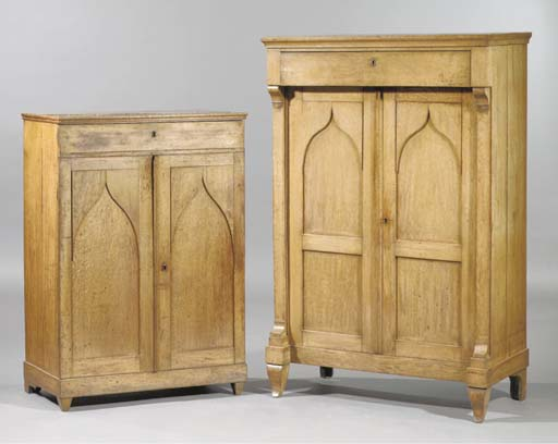 (2) A Dutch oak cupboard