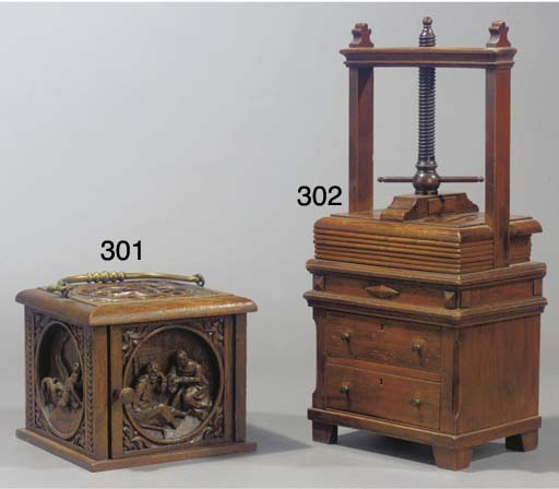 A Dutch carved oak footstove