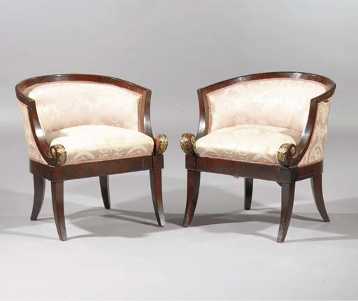 (2) A pair of mahogany and gil