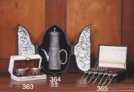 (4) Two silver salt-cellars wi