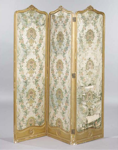 A giltwood three leaf screen