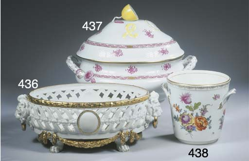 A Berlin KPM-pattern porcelain two-handled floral cachepot