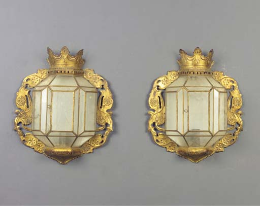 (2) A pair of gilt metal wall-lanterns