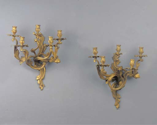 (2) A pair of ormolu five-light wall-lights