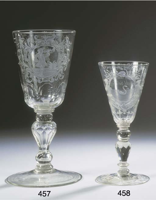 A Bohemian engraved faceted musicians goblet