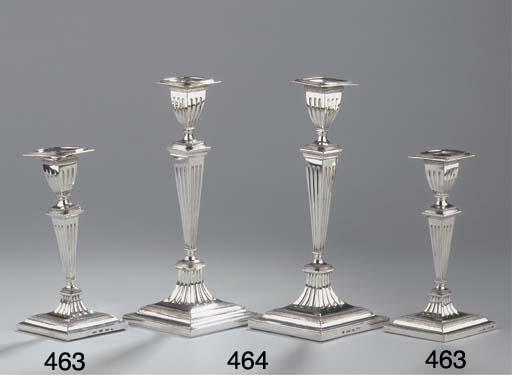 (2) Two Dutch silver candlesti
