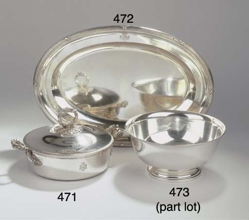 (2) A French silver entree dis