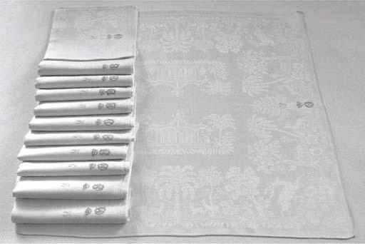 (12)  Damast linnen napkins