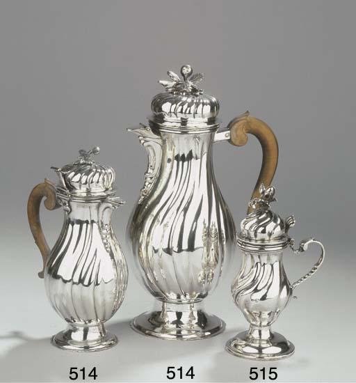 (2) A German silver coffee pot