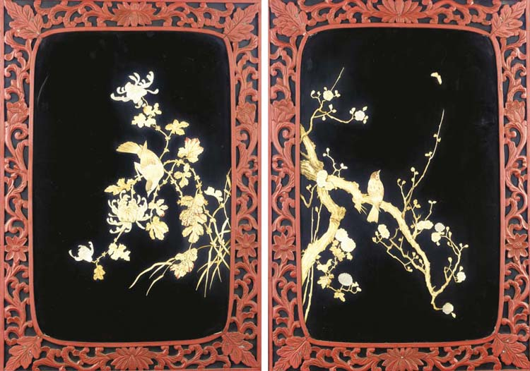(4) A pair of Japanese black a
