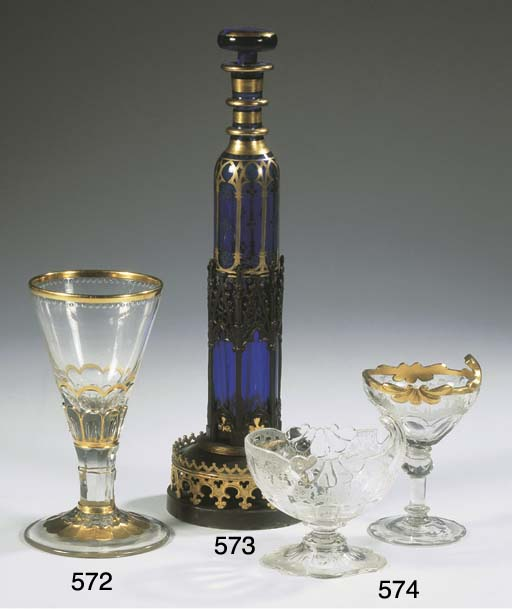 (3) A Neo-Gothic blue glass pe