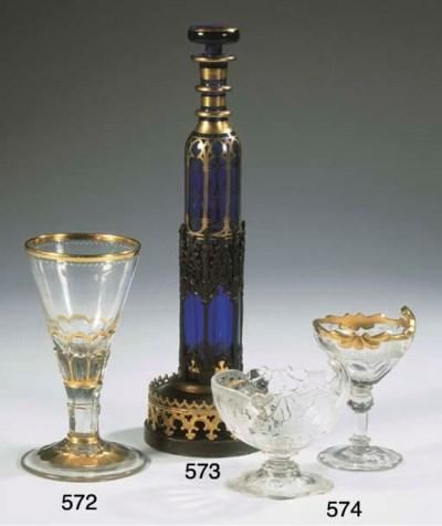 (3) A Neo-Gothic blue glass pe