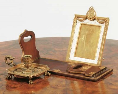 (3) A brass and stained wood c