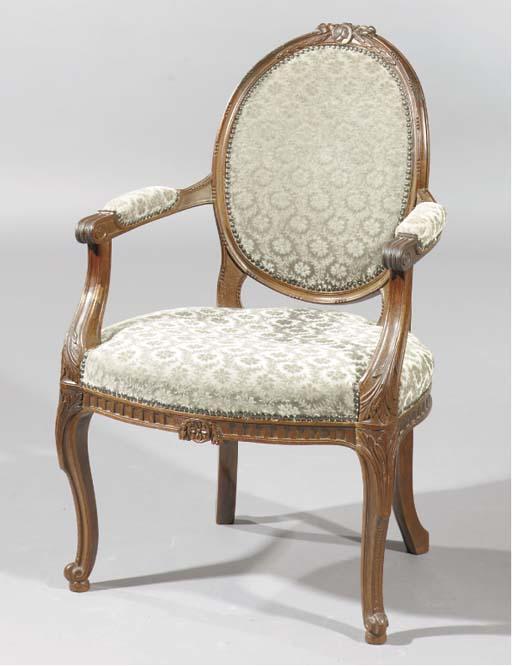 A Dutch mahogany fauteuil