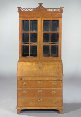 A Dutch oak bureau bookcase