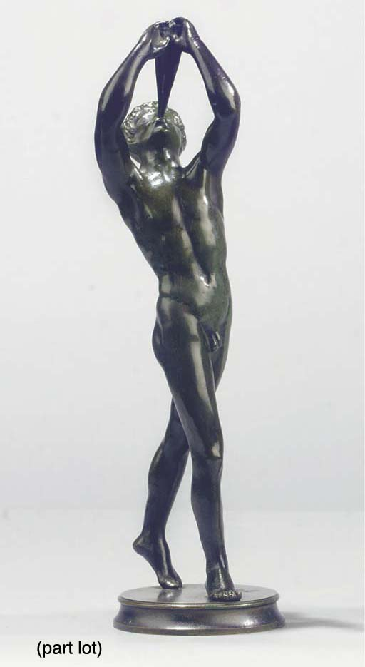 (2)  A bronze figure of a plou