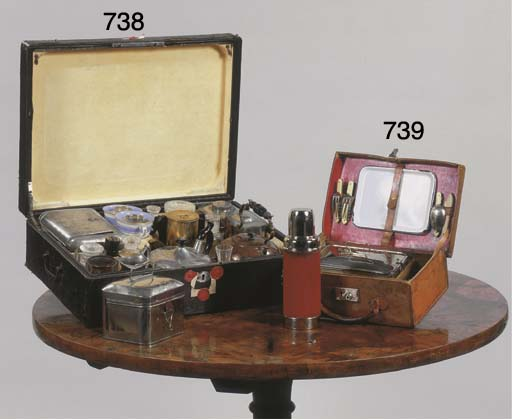 A tooled leather picknick case