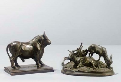 (4  A bronze group of a bull