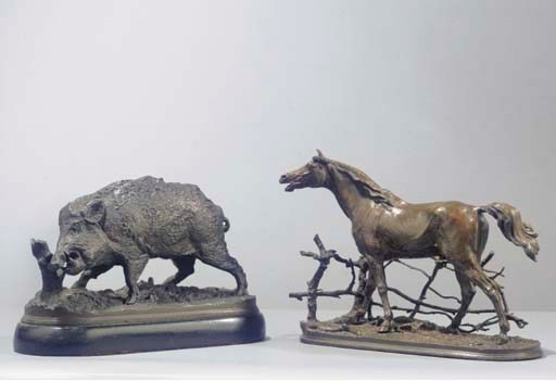(2) A bronze group of a horse