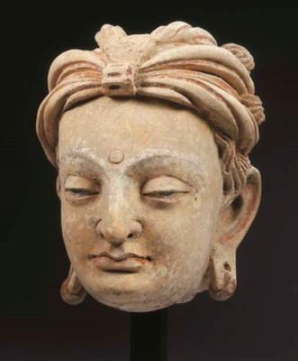 a fine gandhara stucco head of