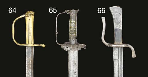 TWO BRASS-HILTED SABRES