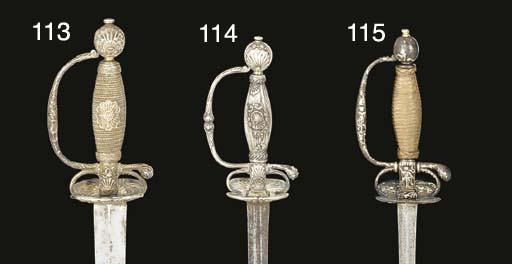 A SMALL-SWORD WITH SILVER-ENCR