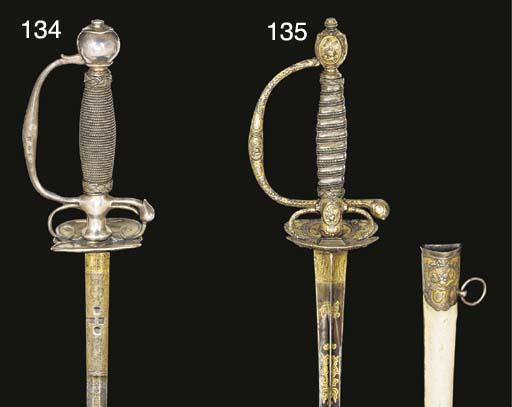 A QUEEN ANNE SILVER-HILTED SMA