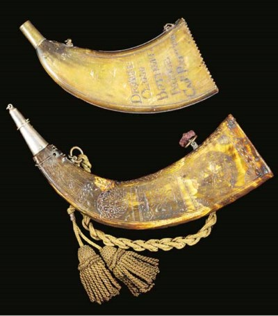A FINE SCOTTISH COW-HORN POWDE
