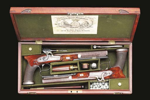 A CASED PAIR OF 36-BORE SAW-HA