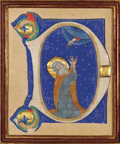 SAINT IN PRAYER, in an initial
