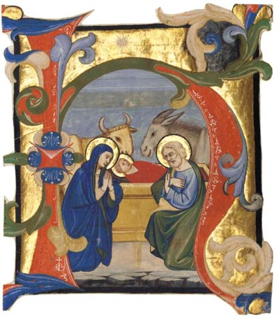 NATIVITY, in an initial H cut