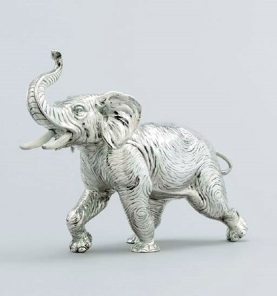 A silver model of an elephant