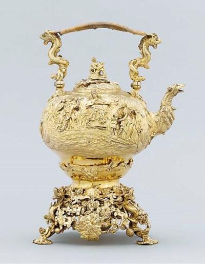 A George III silver-gilt tea-k