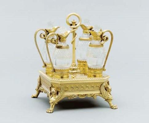 A George III silver-gilt cruet
