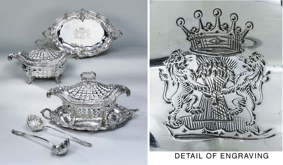 A pair of George II silver sou