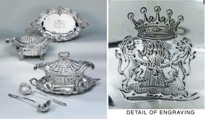 A pair of George II silver sou