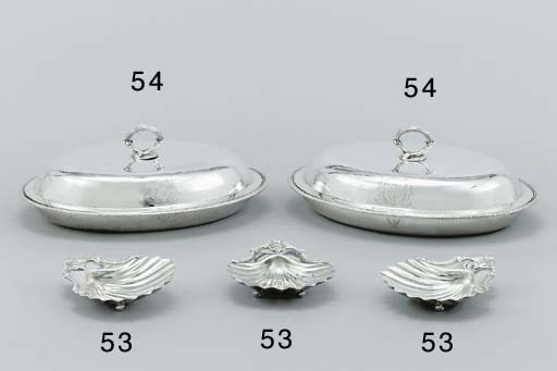 A set of three George III silver butter-shells