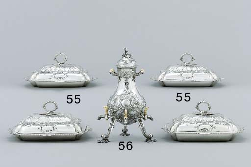 A set of four George III silver entrée-dishes and covers