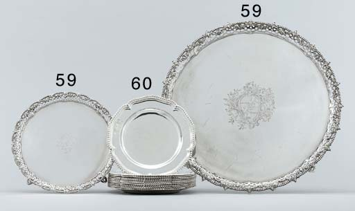 Two George III silver salvers