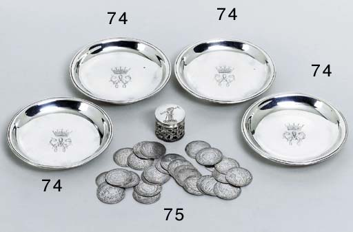 A set of four George II silver dishes