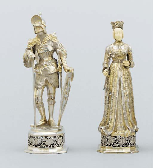 Two German parcel-gilt figures